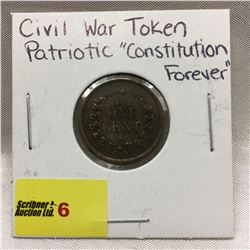 "Civil War Token - Patriotic ""Constitution For Ever"" (Not One Cent)"