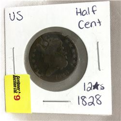 US 1828 Half Cent (12 Stars) (Punched)