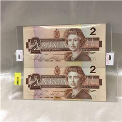 Canada $2 Bills - UNCUT (2): 1986 (CBJ2307470/CBJ2309970)