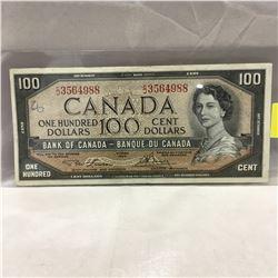 Canada $100 Bill : 1954 Lawson/Bouey