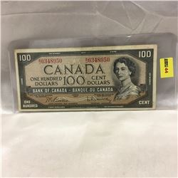 Canada $100 Bill : 1954 Beattie/Rasminsky