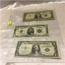 US Bills $1 (1935E, 1957A)  & $5 (1934D)