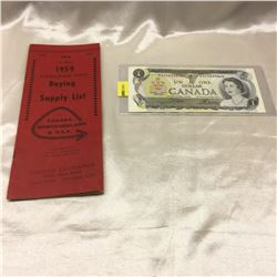 1973 Canada $1 Bills (2): BAC3833865 & BAC3833859 WITH 1959 Canadian Coin Buying Guide & Supply List