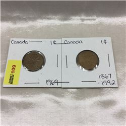 Canada One Cent - Strip of 2: 1969; 1992