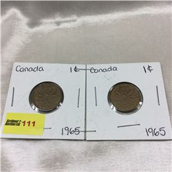 Canada One Cent - Strip of 2: 1965; 1965