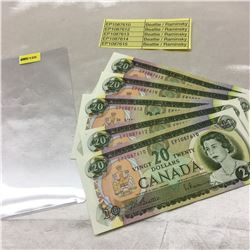 Canada $20 Bills 1969 (4 Sequential +1) EP1087612/13/14/15 + EP1087610