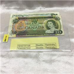 Canada $20 Bills (2) : 1969*