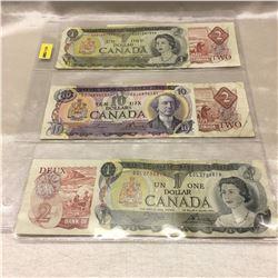 Canada Bills $1, $2, $10 - Sheet of 6: 1970's