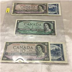 Canada Bills $1, $5, $10 - Sheet of 6: 1954