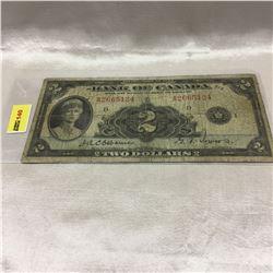 Bank of Canada $2 Bill 1935
