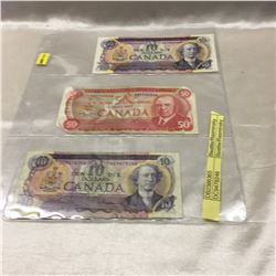 Canada Bills - Sheet of 3: 1971 $10 ; 1971 $10; 1975 $50 (Torn Corners)