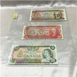 Canada Bills - Sheet of 3: 1975 $100; 1975 $50; 1979 $20