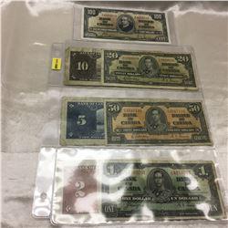 Canada Bills - Sheet of 7: 1937 Series ($1; $2; $5; $10; $20; $50; $100)