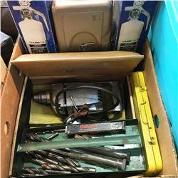 Box Lot: Reversible Elec Drill & Bits, Fire Extinguishers, Tools Boxes