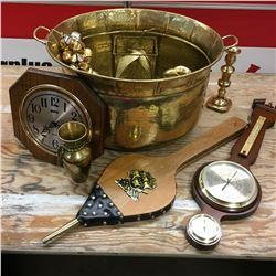 Brass Kettle Pot w/Barometer, Bellows, Ornaments, Bells, etc