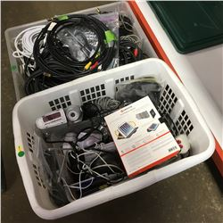 Tote/Basket Lots (2): Electrical Cords/Cables & Electronic Items & Accessories