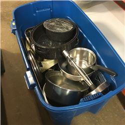 Large Tote Lot: Pots, Pans, Roasters, etc