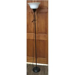 Floor Lamp - White Shade - Black Base/Pole - Light Weight