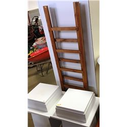 2 White Pedestal Plant Stands, 2 Risers & 2 Trellis/Ladders