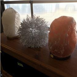 Himalayan Salt Lamps (2) & Silver Home Décor Lamp