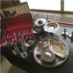 Collection of Silver Serving Pieces & Silverware Set