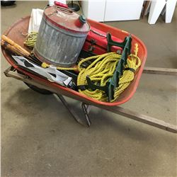 Wheel Barrow Lot: Saws, Gas Can, Hand Tools, Rope, etc