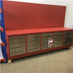 10FT 20 Drawer Heavy Duty Metal Work Bench with hanging peg board c/w 40'' high hanging peg board