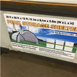 20FT X 30FT X 12FT Peak Ceiling Storage Shelter  C/W: Commercial fabric, roll up door