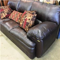 Leather Sofa & Throw Cushions