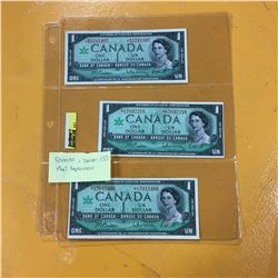 1967 Canada $1 Bills (3)  *Replacement Notes