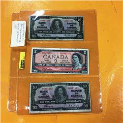 1937 Canada Ten Dollar Bills (2) & 1954 Canada $2 Bill *Replacement Note