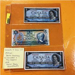 1954 Canada Five Bills (2) (L/S=*Replacement Note) & 1973 Canada Five Dollar Bill
