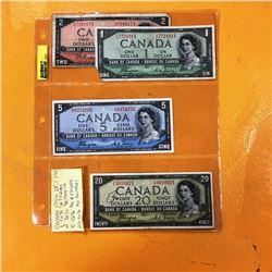 "1954 Canada Bills ""Devil's Face"" ($1, $2, $5, $20)"