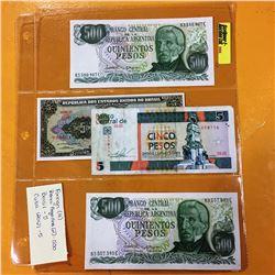 Foreign Bills (4) : Argentina 500 Pesos (2); Brasil 5 Pesos; Cuba 5