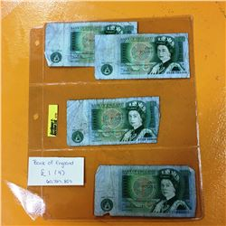 Bank of England One Pound Notes (4)