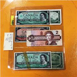 Canada Bills - Variety : 2 of 1954 $1; 2 of 1967 $1; 1954 $2; 1986 $2