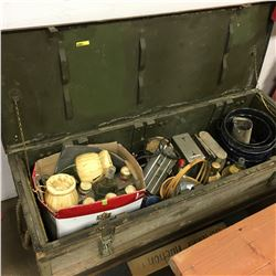 No1 Mark 2 Military Rifle Box w/Contents : Permissible Elec Cap Lamp, Liquor Bottles, Toasters, Cani