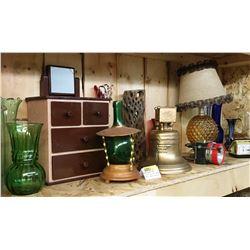 Shelf Lot: Bell, Decanter, Lamp, Alarm Clock, Vases, etc