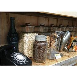 Shelf Lot: Mercantile Display Jars, Rotary Phone, Coal Oil Lamp, etc