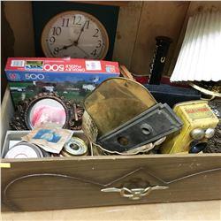 Drawer Lot: Jewellery Box, Barometer, Talk O Phone Bank, Clock, Brass Wall Pockets, etc