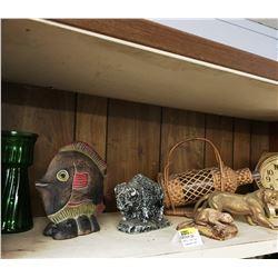 "Shelf Lot: Large ""Watch"" Clock, Crock Jug, Ornaments, etc"