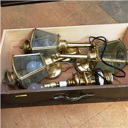 Drawer Lot: Brass Lights (Sconces & Elec Lamp)