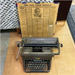 Underwood Typewriter & Reproduction of Lincoln Assassination in the New York Herald