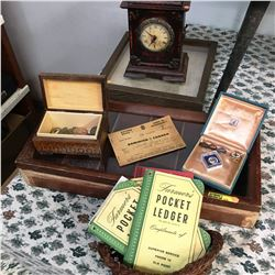 Antique / Collectible Grouping: Mantle Clock, Pins & Buttons, Display Cases, Pocket Ledgers