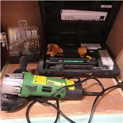 Angle Grinder, Bostich Air Stapler, Drill Bit Set