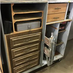 Rolling Shop Cabinet w/Contents (Shop Supplies, Wiring, Work Mate, etc)