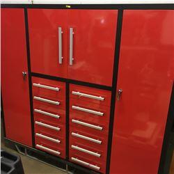 80'' Heavy Duty Multi Drawer Tool Cabinet c/w: 12 drawers, 2xlarge doors, 2xsmall doors