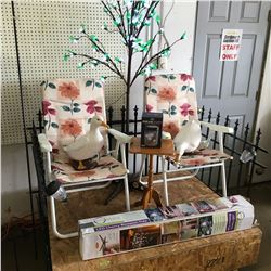 Picket Fence, Light Up Cherry Blossom Tree, 2 Lawn Chairs, Table, 2 Geese, Solar Lights