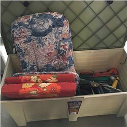 Deck Box w/Contents: Hedge Trimmer, Leaf Blower, Hose, Sprinklers, etc