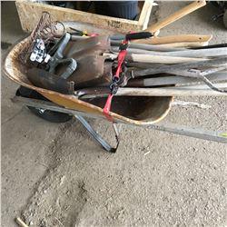 Wheelbarrow w/Variety of Rakes, Shovels, Lawn/Garden, etc
